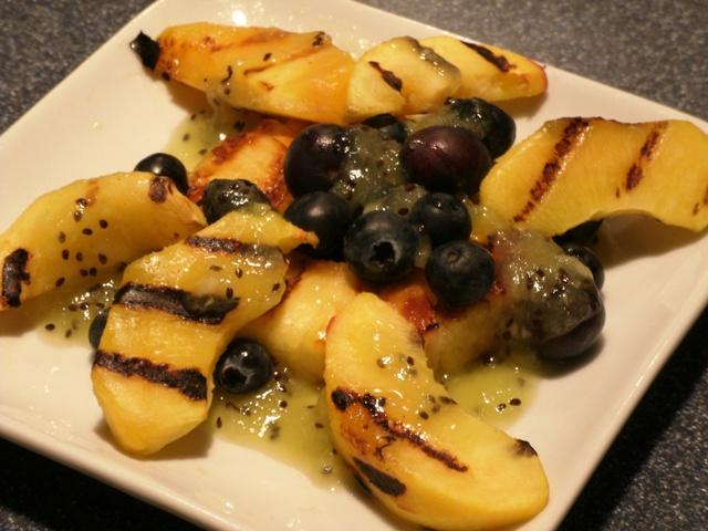 Grilled Fruit Salad with Kiwi Sauce
