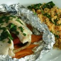 Change of Seasons: Grilled Tilapia Packets with Tomato Arugula Cous Cous