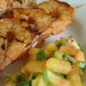 Rubbed the Right Way: TexMex Rubbed Shrimp Skewers with Peach Salsa