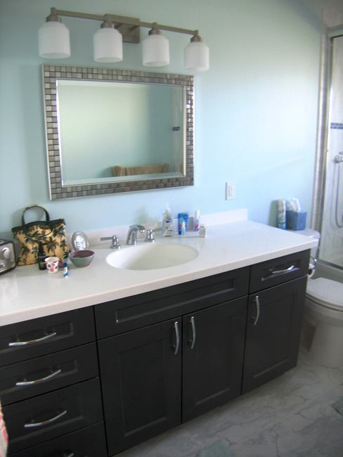 Gray Vanity, White Countertops