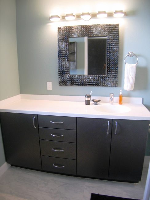 Gray Vanity, White Countertop