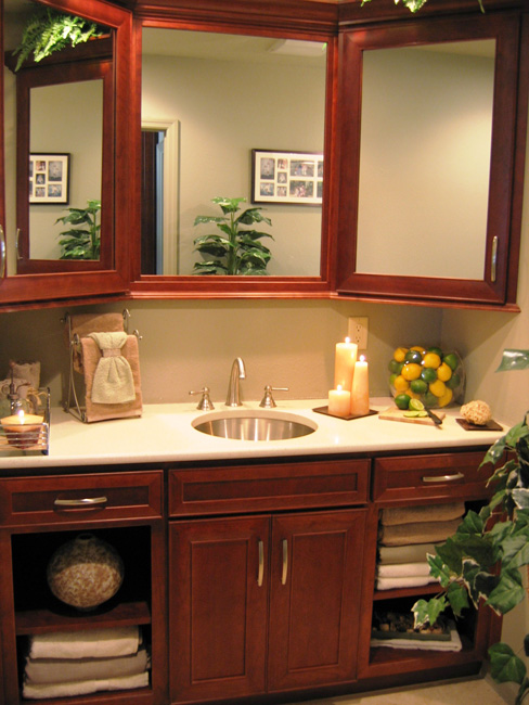 Vanity with Three Way Mirror