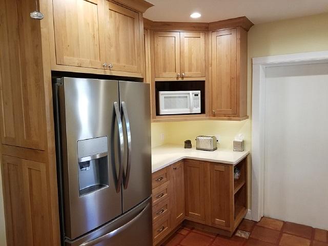 refrigerator alder inset cabinetry microwave corner